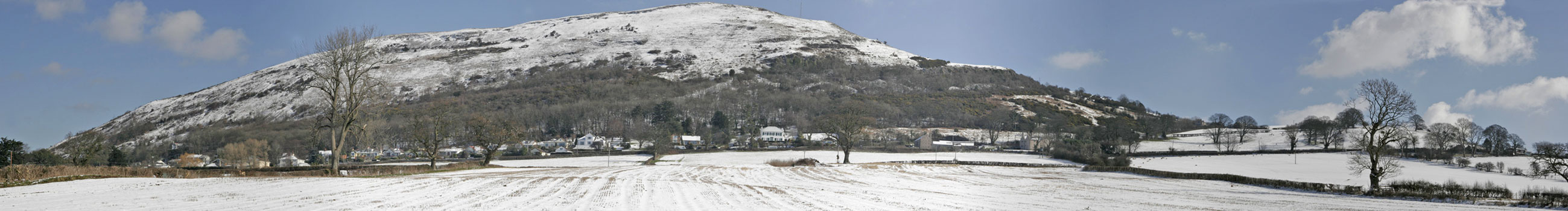 Winter panorama from Waen Road, near Hottia Farm, across Moel Hiraddug, Dyserth