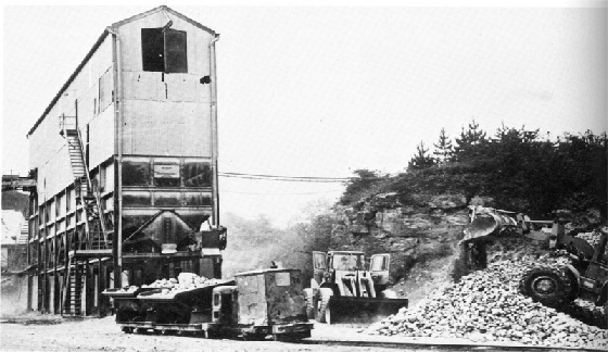 The crushing plant at Dyserth Quarry, with the little railway.